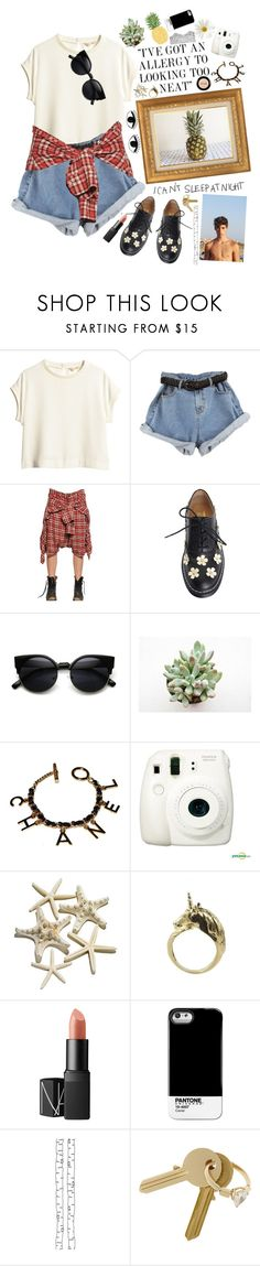 """""""daisy downpour"""" by stylebopper ❤ liked on Polyvore featuring H&M, R13, Chanel, Fujifilm, NARS Cosmetics, Case Scenario, ferm LIVING, Maison Margiela and Stila"""