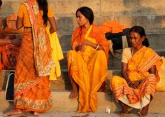 India Women Morning Bath at the Ganges River by JillMontoniClay