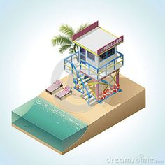 Vector Isometric Lifeguard Tower Royalty Free Stock Images - Image: 26012659