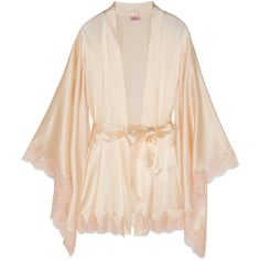 Agent Provocateur Abbey lace-trimmed stretch-silk satin robe (2.665 BRL) ❤ liked on Polyvore featuring intimates, robes, lingerie, underwear, pajamas, neutrals, pink bathrobe, pink dressing gown, satin robe and dressing gown