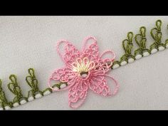 Needle lace is used to make the most flower lace. Beautiful needle lace model in flowers branch is a Crochet Flower Tutorial, Crochet Flowers, Baby Knitting Patterns, Shuttle Tatting Patterns, Point Lace, Needle Lace, Knitted Shawls, Knitting Socks, Hand Embroidery