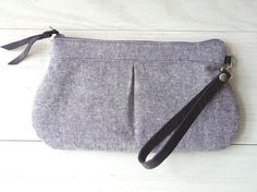 Zipper wristlet clutch  purse with removable leather by TinyDaisy