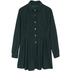 Pleated Hem Shirt Green Dress (€14) ❤ liked on Polyvore featuring dresses, green, embellished dress, button dress, short sleeve dress, long sleeve short dress and long sleeve day dresses