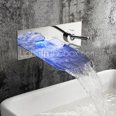 cromo acabado color cambiante llevó cascada de pared para baño grifo del fregadero - EUR € 98.99