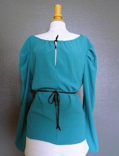 Blouse en crêpe de polyester turquoise T38/40
