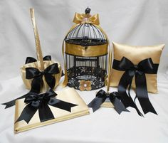 Wedding Accessories Gold Black Flower Girl Basket Ring Bearer Pillow Guest Book PenSet Birdcage Your Colors by weddingsbyminali on Etsy https://www.etsy.com/listing/212100799/wedding-accessories-gold-black-flower