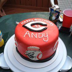Cincinnati reds cake (mr redlegs too) red fondant one tier baseball