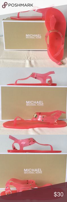 68cc78b6ddc5 NIB Michael Kors Plate Jelly Sandals PINK Size 6 🆕Brand New in Box-Never