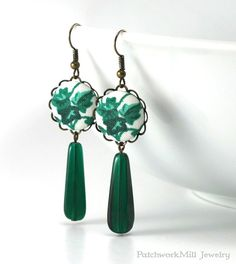 Green Earrings, Dangle Ivy Earrings, Teal Forest Earrings, Czech Glass Beads, Fabric Covered Button Earring, Antique Style Statement Jewelry by PatchworkMillJewelry