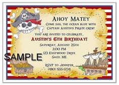 Image detail for -Pirate Birthday Party Invitations Pirate Birthday Invitations, Personalised Party Invitations, Birthday Invitations Kids, Elegant Invitations, Birthday Party Favors, Birthday Parties, Birthday Ideas, Pirate Kids, Pirate Party
