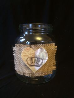 Up cycled old glass jars with burlap