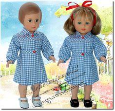 Vêtement poupée MODES ET TRAVAUX septembre 1952, Robe: Françoise et autres 40 cm