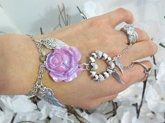 Rose Angel Heart Slave Bracelet Ring An by TheMysticalOasisGlow, $25.00
