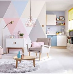 Color block wall. Cute for playroom.