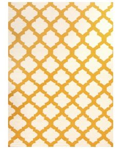 Fes Yellow and White Moroccan Lattice Flatweave Rug