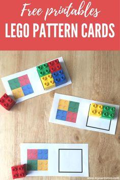 Juego de patrones con ladrillos LEGO DUPLO | Free LEGO pattern cards | LEGO fine motor activities | http://www.legoactivities.com