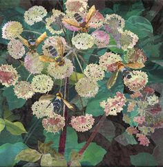 detail of Wild Angelica with Hoverflies by Amanda Richardson - click to return