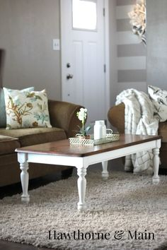 DIY Coffee Table Makeover.  This table makeover really gave my living room a cozy feel.