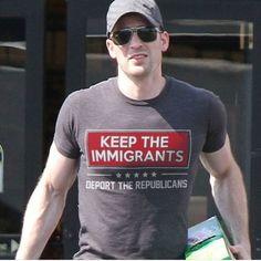 "Please update this t-shirt: it should say ""Deport the traitorous Republicans. Political Views, Political Memes, Chris Evans, Human Rights, In This World, Equality, Feminism, Donald Trump, Laughter"