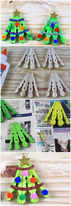 Clothespin Christmas Tree Craft Funny Christmas Tree, Unique Christmas Trees, Christmas Crafts For Kids To Make, Christmas Tree Crafts, Preschool Christmas, Noel Christmas, Christmas Activities, Christmas Projects, Holiday Crafts
