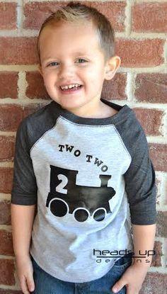 Two Two Train Toddler Raglan Shirt Two by Headsupshirtdesigns