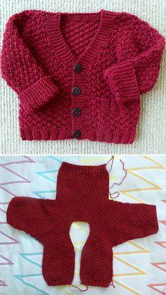 Baby Cardigan Knitting Pattern Free, Baby Boy Knitting Patterns, Baby Sweater Patterns, Knit Baby Sweaters, Knitted Baby Clothes, Knitting For Kids, Easy Knitting, Cardigan Sweaters, Knitting Stitches