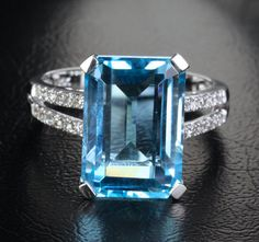 10x14mm Emerald Cut Blue Topaz .18ctw Diamonds 14K White Gold Engagement Ring #LOGR #Cocktail