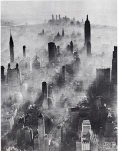 Aerial view of Midtown Manhattan looking south with smog. July 1943. (andreas feininger)