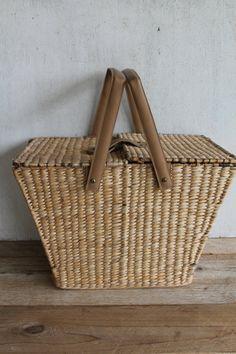 Vintage Rattan & Leather Picnic Basket  •Details• Vintage rattan picnic…