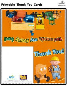 Welcome to Universal Kids, an all-new viewing experience made for kids, by kids. Printable Thank You Cards, Bob The Builder, Thank You Notes, Printables, Entertaining, Kids, Diy Welder, Young Children, Sympathy Thank You Notes
