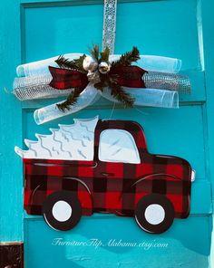 Christmas door hangerchristmas wreathchristmas tree truck   Etsy Christmas Yard Art, All Things Christmas, Christmas Holidays, Christmas Wreaths, Christmas Crafts, Christmas Decorations, Xmas, Christmas Ornaments, Christmas Ideas