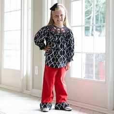 7c5f6d54095 Girls Black Lattice Corduroy Santa Smocking Pant Set – Lolly Wolly Doodle.  Find this Pin and more ...