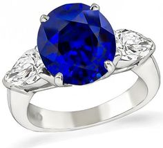 Oval Cut Sapphire Marquise Cut Diamond Platinum Engagement Ring