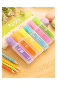 Fluorescent Highlighters Set 6 pcs Korean Stationery by TinyBees