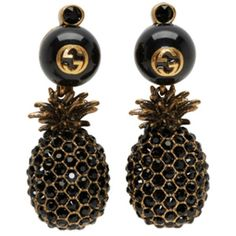 Gucci Gold and Black Pineapple Pearl Earrings ($605) ❤ liked on Polyvore featuring jewelry, earrings, gold, pearl jewellery, drop earrings, pearl jewelry, pineapple stud earrings and white pearl earrings