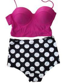 Black Friday Vintage High Waist Bikini Sets Hot Pink Top polka Dots Bottom  (L(US from Ninimour Cyber Monday 145be9816