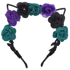 Amazon.com : Lux Accessories Coachella Black Purple Teal Cat Ear... ($9.95) ❤ liked on Polyvore featuring accessories, hair accessories, flower garland headband, purple hair accessories, purple garland, flower crown headband and floral crown headband