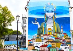 Explore the street art in Kyiv (Kiev), Ukraine's exciting capital city. The huge, vibrant wall murals are not to be missed.