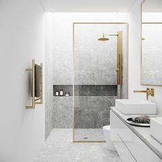 Gold Shower, Bathroom Design Luxury, Modern Luxury Bathroom, Luxurious Bathrooms, Shower Screen, My New Room, Interiores Design, Gold Bathroom, Modern Master Bathroom