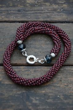 Handmade crocheted necklace  - brown, red