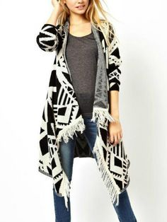 Buy Beige Geometric Print Tassel Long Coat from abaday.com, FREE shipping Worldwide - Fashion Clothing, Latest Street Fashion At Abaday.com