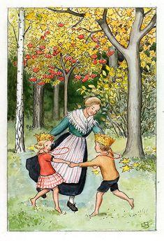 Swedish illustration, by Elsa Beskow Elsa Beskow, Art Folder, Children's Book Illustration, Gravure, Vintage Children, Illustrations Posters, Vintage Art, Illustrators, Fairy Tales