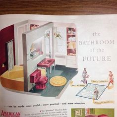 Found this pic on my phone from my thesis research two years ago which means this is either from @housebeautiful or @betterhomesandgardens circa 1940s. Hot pink toilet?  #ThatYellowTubTho #Yaayus