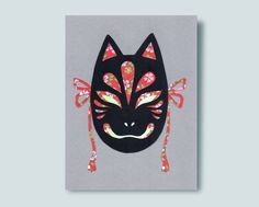 Kitsune Mask Paper Collage Mirror Paper, Kitsune Mask, 3 Shop, Lapel Pins, Washi, Batman, Collage, Superhero, Collages