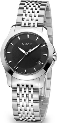 Gucci Watches , Gucci Women's YA126502 G-Timeless Black Dial Stainless-Steel Bracelet Watch