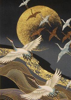 "Japanese Cotton Fabric © Kona Bay Panel ""Cranes flight to golden moon"" Japon Illustration, Arte Sketchbook, Japanese Painting, Japan Art, Bird Art, Chinese Art, Art Pictures, Art Inspo, Fantasy Art"
