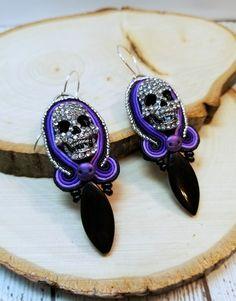 RESERVED Crystal Skull Earrings, Gothic Skull Soutache Earrings, Beaded Skull Jewelry, Macabre Jewelry, Skull Earrings, Beaded Earring by zencreations04 on Etsy