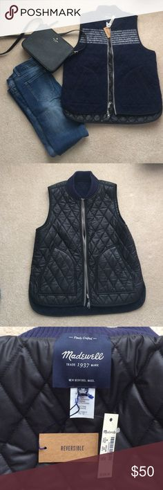 Madewell Reversible Vest Size medium. The outside is a soft polyester wool thats a navy blue hue. The inside is a sleek black leather like fabric. Basically 2 cute vests for the price of one! Its stylish and can be dressed up or down. Retail is $138 from madewell. NWT Madewell Jackets & Coats Vests