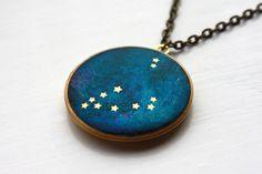 Capricorn Constellation antique brass locket, astrology, brass, zodiac, blue, handmade, stars, star sign, illustration, space