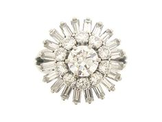 Round and baguette diamond ballerina coronet cluster ring, French, circa 1950.